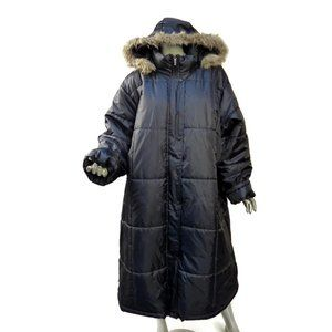 Totes Weather Stoppers Black Puffer Maxi Coat Hooded Zip Snap Front 3X Quilted